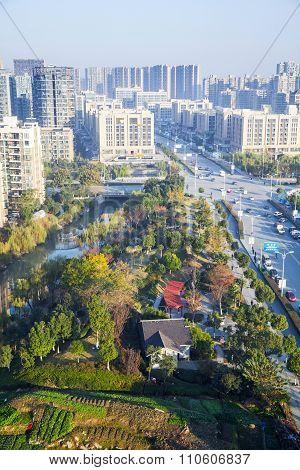 Vertical Cityscape Of Hangzhou City