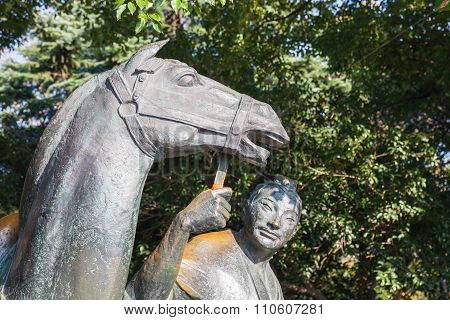 Chinese Horseman Statue In West Lake Park