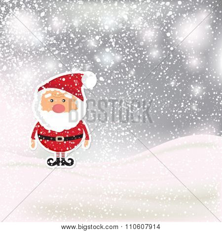 Silver Christmas  landscape background with  Santa Claus, snowfalls and snowflakes