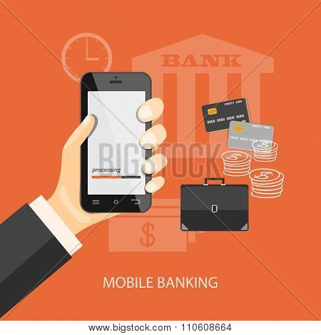 Mobile Banking investment concept