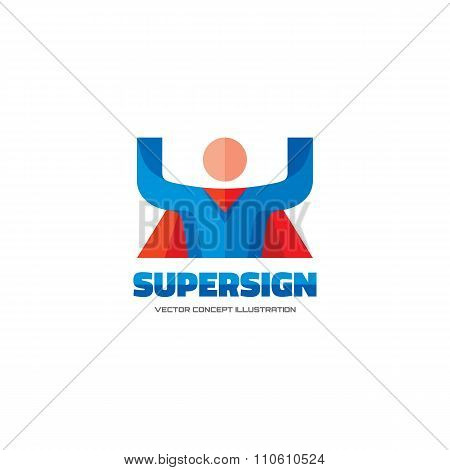 Supersign - vector logo concept in flat style design. People character. Hero logo. Super logo.