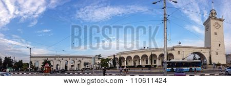 Simferopol, Ukraine - Sept 30, 2015: Deserted Railway Station Front Square On Sept 30, 2015 In Simfe