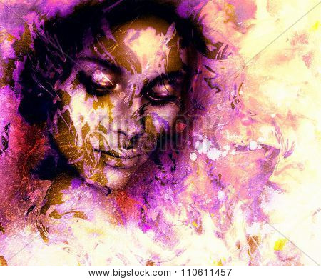 Goddess woman, with ornamental face, and color abstract background. meditative closed eyes.