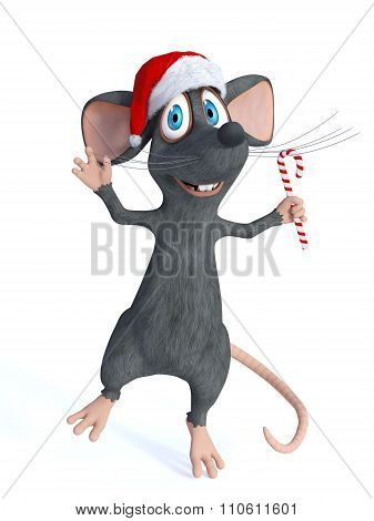 Cartoon Mouse Holding Christmas Candy Cane.