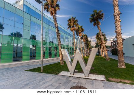 Barcelona, Spain - November 10, 2015: Pedestrian Lane With W Hotel Logo On November 10, 2014 In Barc