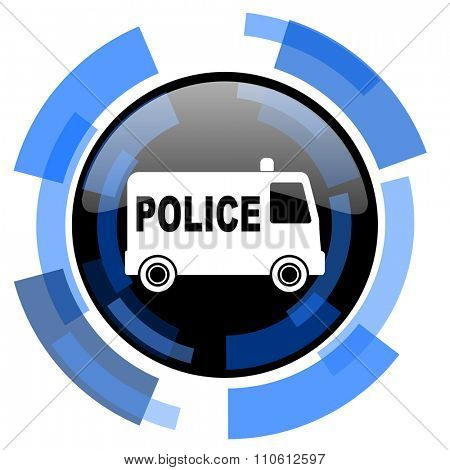 police black blue glossy web icon