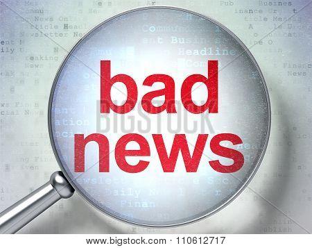 News concept: Bad News with optical glass