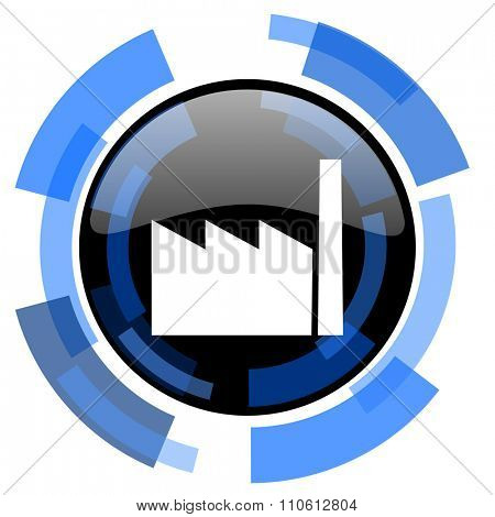 factory black blue glossy web icon