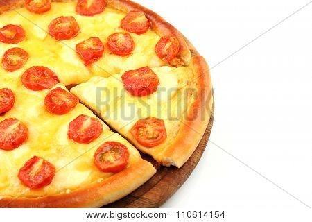 Pizza Margherita and removed slice, isolated on white