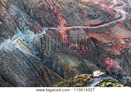 Alpine road in Atlas Mountains, South Morocco, Africa