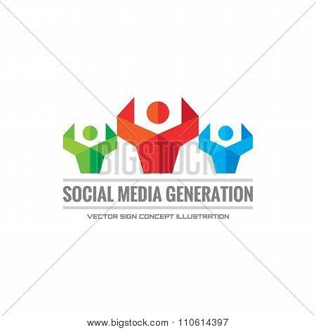Social media generation - vector logo concept illustration. Human character logo.