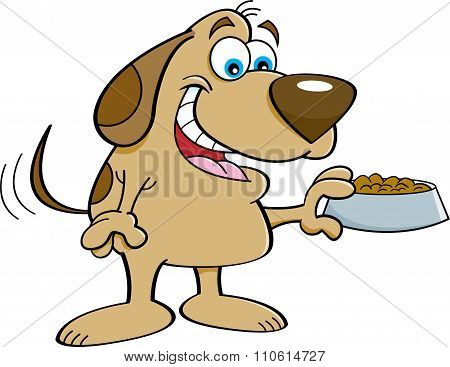 Cartoon dog holding a dog food dish.