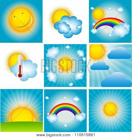 Sun and Coud Background Set Vector Illustration
