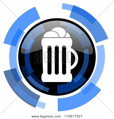 beer black blue glossy web icon