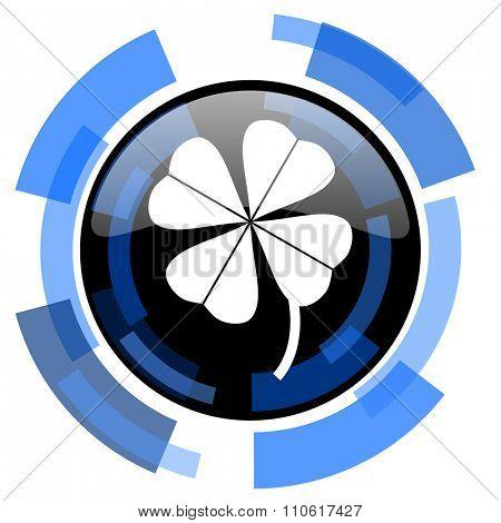four-leaf clover black blue glossy web icon