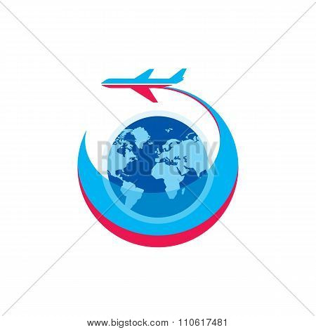 Airplane - vector logo sign concept illustration. Airplane silhouette, globe and stripes.