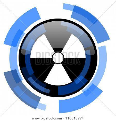 radiation black blue glossy web icon