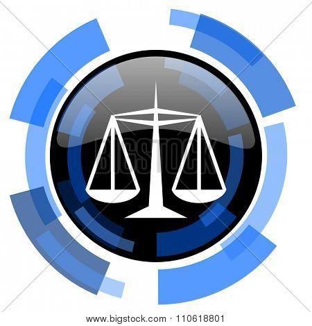 justice black blue glossy web icon