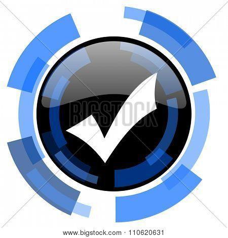accept black blue glossy web icon