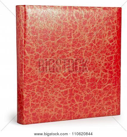 Decorative red photo album with patina cracks texture