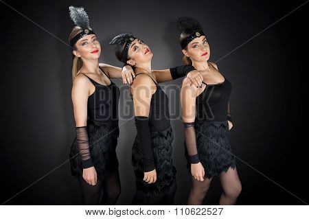Showgirls in Black Charelston Costume