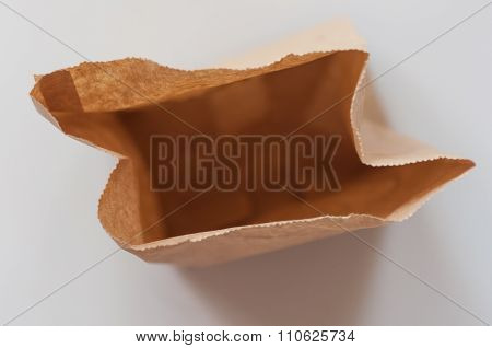 Brown Paper Bag From Top View.