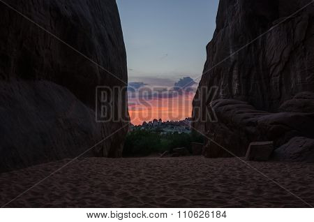 Sunset Through Canyon Walls