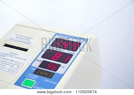 Automatic Blood Pressure Monitor With Hypertension Isolated On White