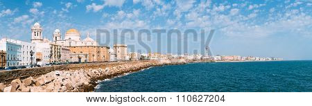 Panorama of Cadiz Cathedral and old town cityscape