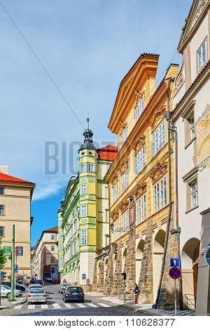 Prague, Czech Republic-september 5, 2015: Quarters And Streets With People On  Prague's Mala Strana(