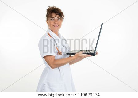 Smiling Medical Female Doctor Using Laptop Isolated