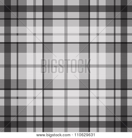 Vector seamless scottish tartan pattern in black grey and white