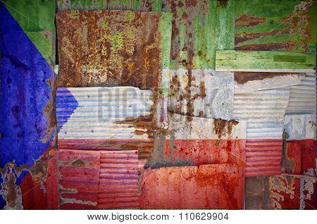 Corrugated Iron Equatorial Guinea Flag