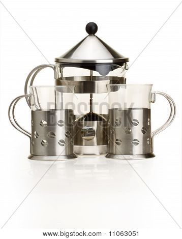Set For Tea From A Glass And Metal