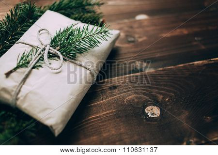 Christmas Craft Gift On The Wooden Background