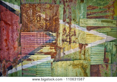 Corrugated Iron Guyana Flag