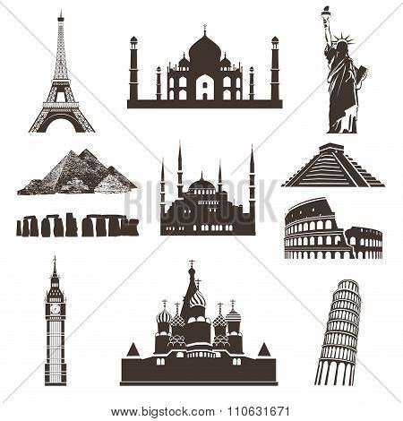 Travel Icon Set, Vector Silhouettes