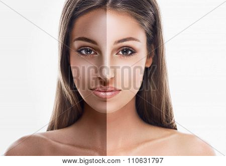 woman half face tan beautiful portrait
