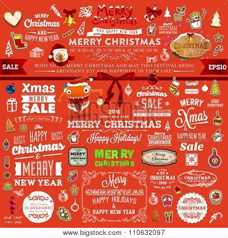 Christmas Decorations Set. Holiday Elements for Greeting Cards. Typographic Vintage Labels, Badges and Logos. Flourishes Calligraphic Collection.