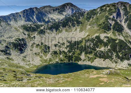 View from Vihren Peak toward Vlahini lakes, Pirin Mountain