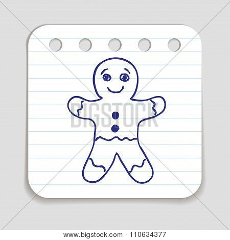 Doodle Gingerbread Man Icon
