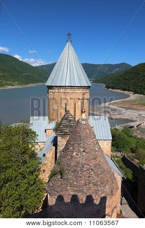Ananuri Church On Georgian Military Highway. Georgia.