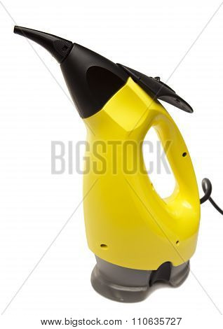 handheld steam cleaner on a white background