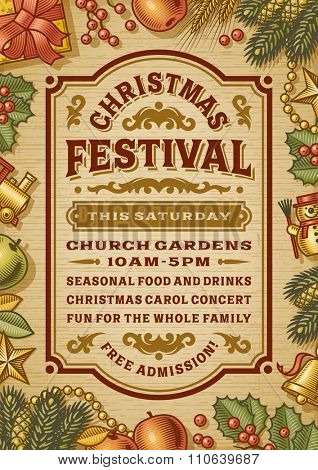 Vintage Christmas Festival Poster. Editable EPS10 vector illustration with clipping mask and transparency.