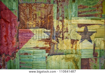 Corrugated Iron Sao Tome And Principe Flag