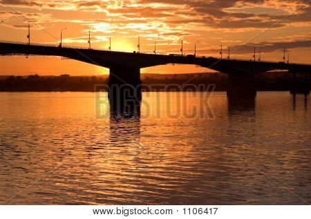 Sunset And Bridge