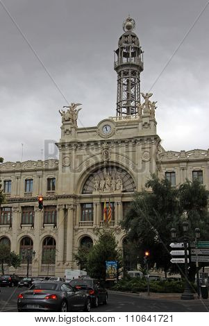 Valencia, Spain - August 26, 2012: Central Post Office (edificio De Correos Y Telegrafos) Facade