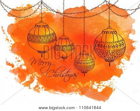 Beautiful greeting card with floral Xmas Balls on splash for Merry Christmas celebration.