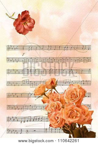 Vintage background texture with bokehs, bouquet of flowers, watercolor drawing of rose