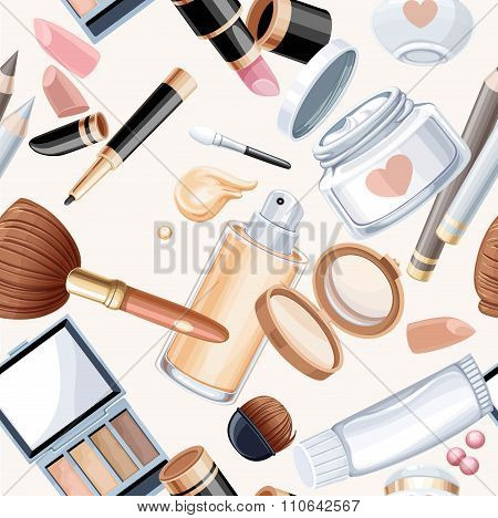 Seamless Pattern From Cosmetic Objects Cream,eye Shadow, Face Po